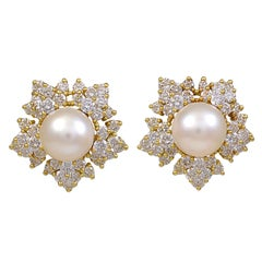 Gold Pearl & Diamond Snowflake Ear Clips