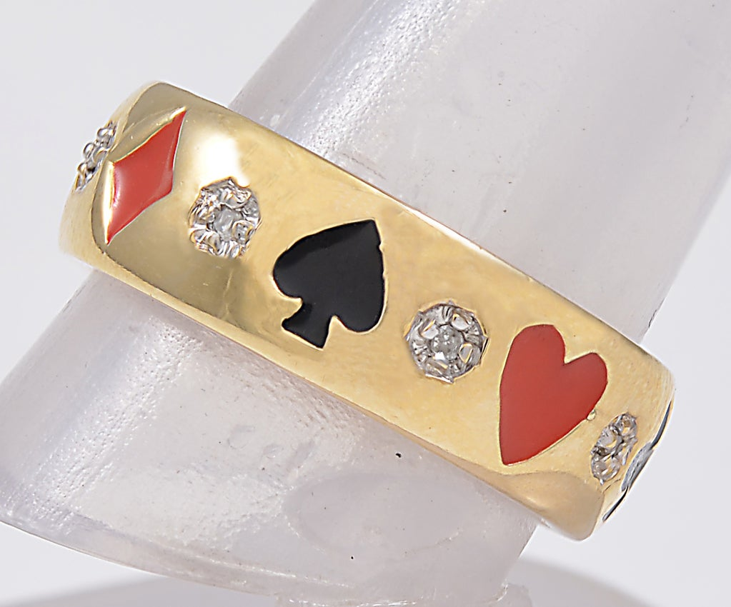 Most Unusual Card Suit  Diamond and Enamel Ring image 2