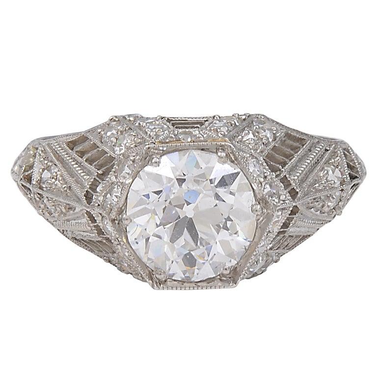 antique 1 49 carat platinum engagement ring at 1stdibs