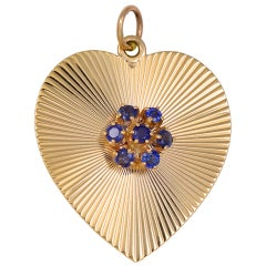 TIFFANY & CO Gold and Sapphire Heart Pendant