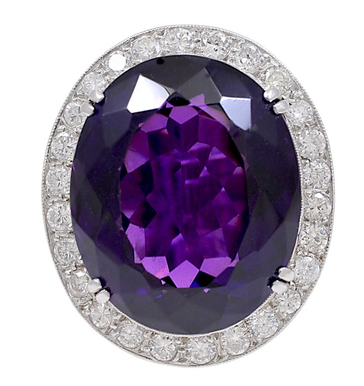grand amethyst and platinum ring at 1stdibs