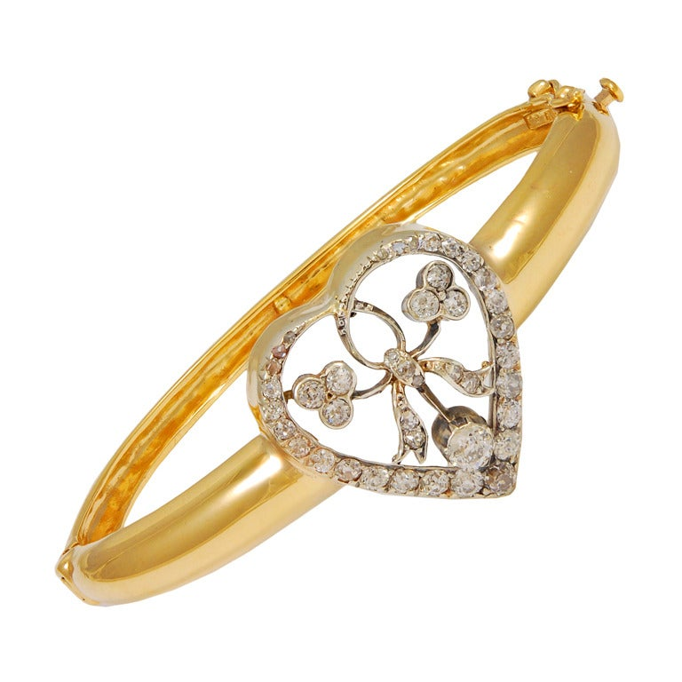 Victorian Diamond Gold Heart Bangle