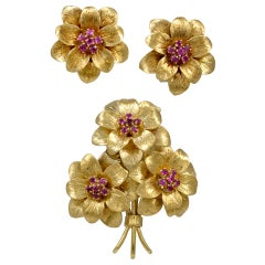 Tiffany & Co. Ruby Brooch and Ear Clips