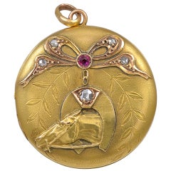 Antique Rose Diamond Horse Locket