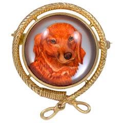 Reverse Painted Dog Brooch