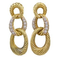 Triple Loop Diamond Drop Earrings