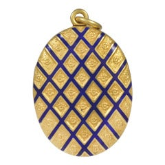 Antique Large Enamel Gold Locket