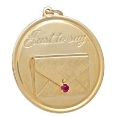 "Large Ruby Gold ""I Love You"" Charm Pendant"