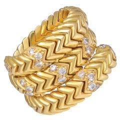 """BULGARI """"Spiga"""" Diamond Ring"""