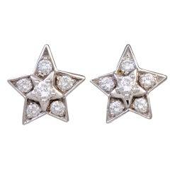 CHANEL Diamond Star Stud Earrings