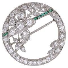 Emerald Diamond Edwardian Flower Brooch