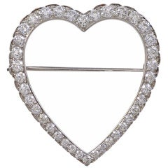 Tiffany & Co. Diamond Platinum Heart Brooch