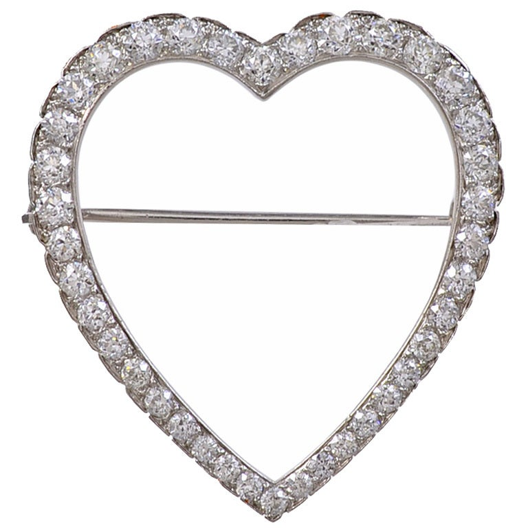 Tiffany & Co. Diamond Platinum Heart Brooch 1