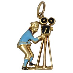 CARTIER Gold  Enamel Movie Camera Charm