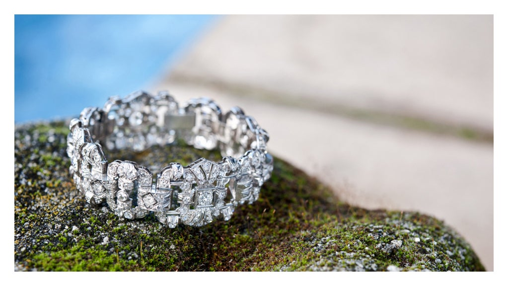 Art Deco Impressive 1930's Diamond Platinum Panel Bracelet 4