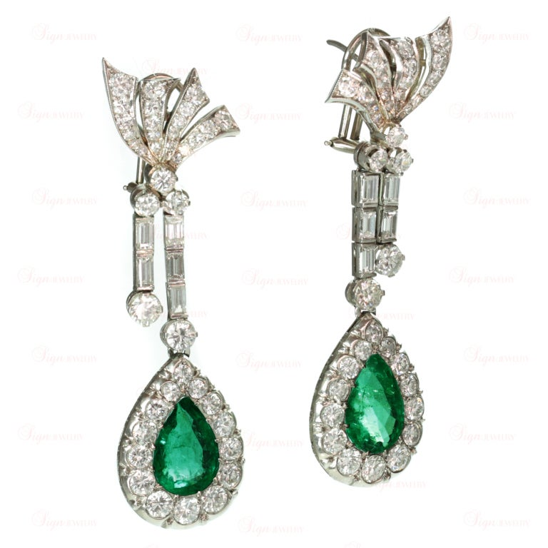 Retro Hand-Made Pear Emerald Diamond Drop Earrings 2