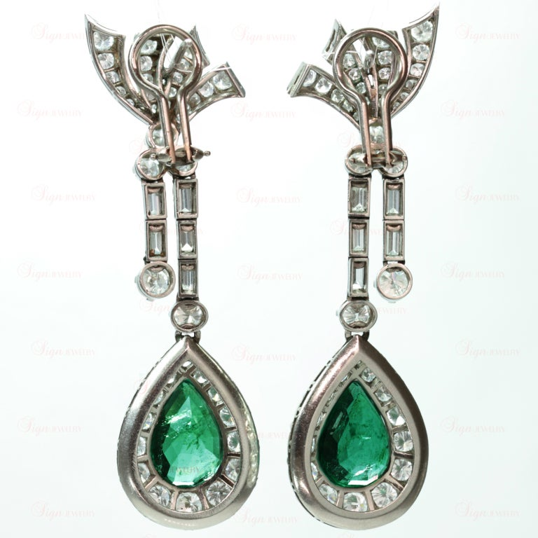 Retro Hand-Made Pear Emerald Diamond Drop Earrings 3