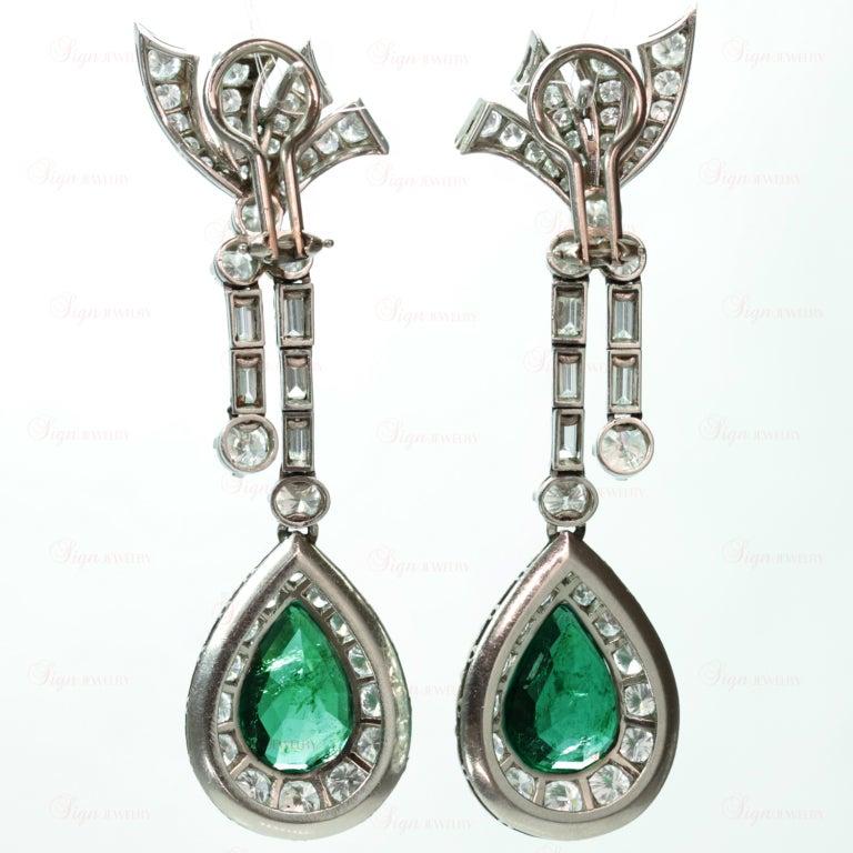 Retro Hand-Made Pear Emerald Diamond Drop Earrings 3