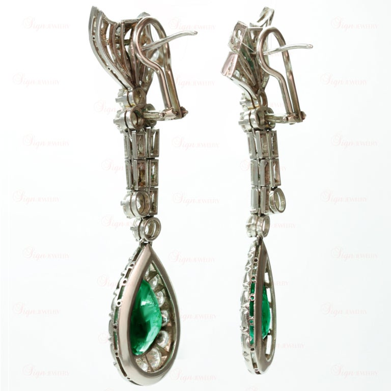 Retro Hand-Made Pear Emerald Diamond Drop Earrings 4