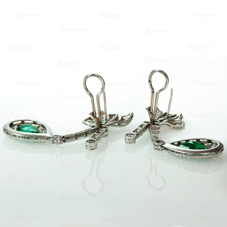 Retro Hand-Made Pear Emerald Diamond Drop Earrings 5