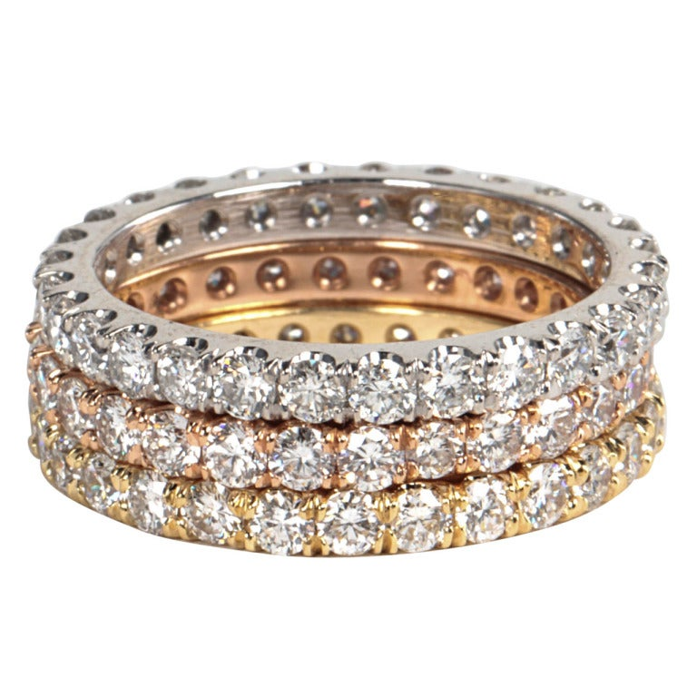 Trio Of White Rose Yellow Gold Diamond Eternity Bands At