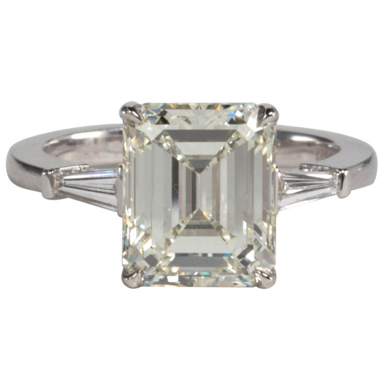 Classic Emerald Cut 4 Carat GIA Certified Engagement Ring