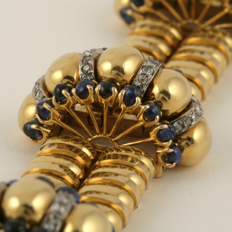 Boucheron Paris 1930s Retro Blue Sapphire Diamond Gold Bracelet For Sale 2