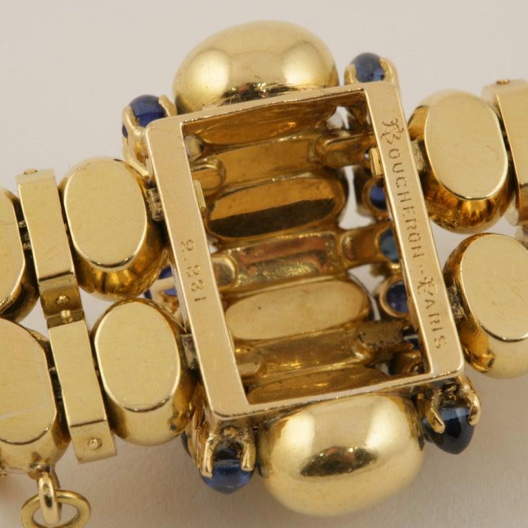 Boucheron Paris 1930s Retro Blue Sapphire Diamond Gold Bracelet For Sale 4