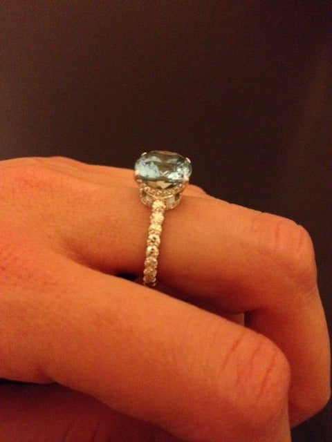 Women's Tamir 5.11 Carat Aquamarine Diamond Platinum Ring For Sale
