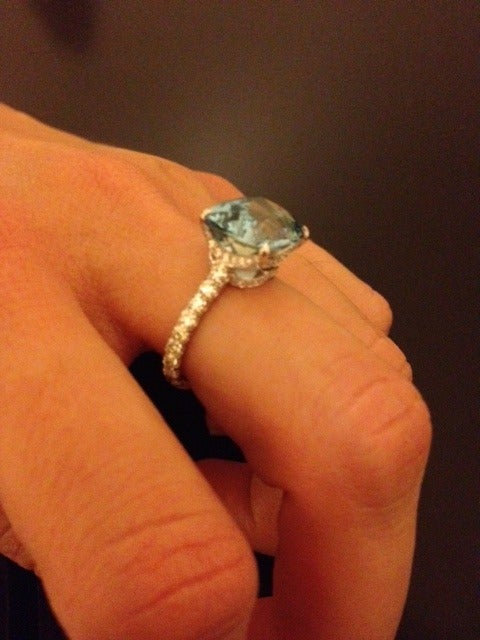 Tamir 5.11 Carat Aquamarine Diamond Platinum Ring In As new Condition For Sale In Beverly Hills, CA