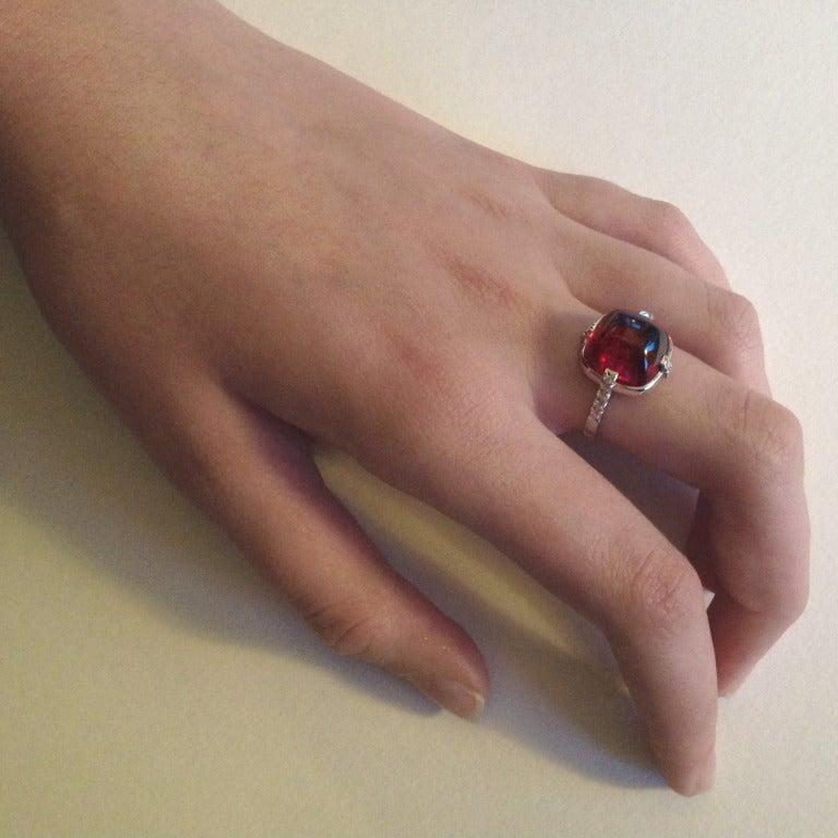 Dalben Red Tourmaline Diamond Gold Ring For Sale 2