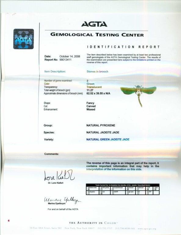 Natural Jadeite Jade Akoya Pearl Garnet Gold Dragonfly Pin 7