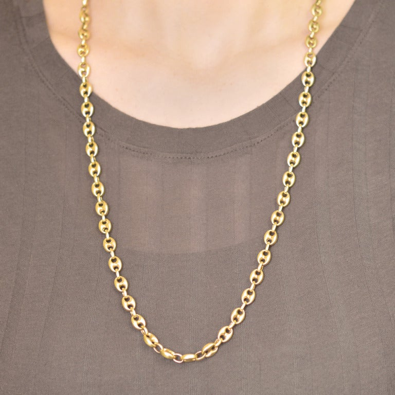 Gold Anchor Link Motif Chain Necklace At 1stdibs