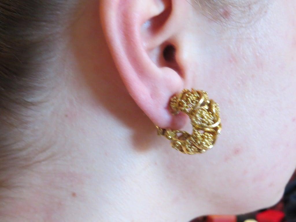 Women's 1970s Tiffany & Co Gold Hoop Earrings For Sale