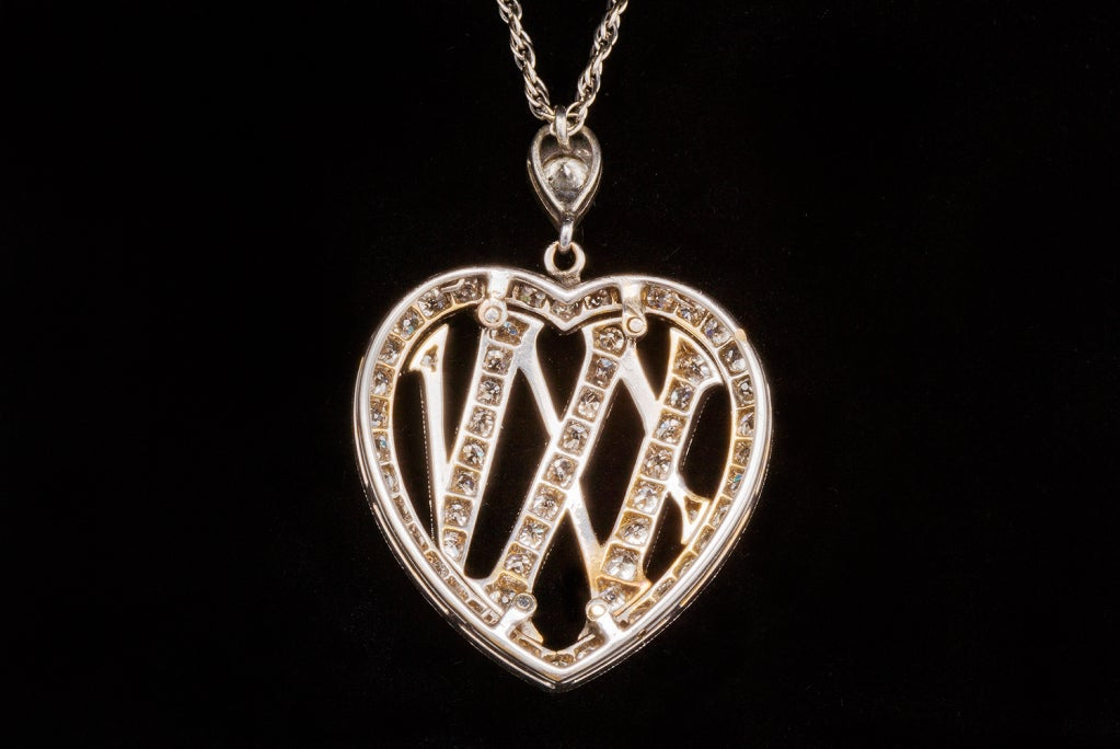 1910 Edwardian Diamond Gold Platinum 25th Anniversary Pendant For Sale 1