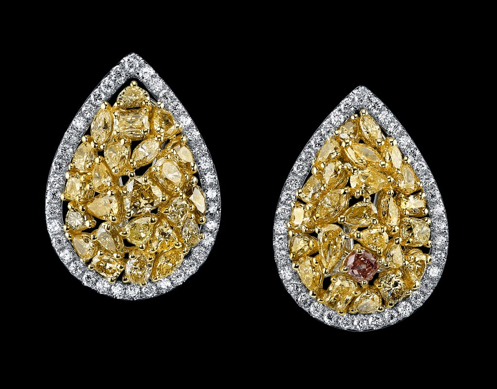 Natural Fancy Colored Diamond Earrings. image 2