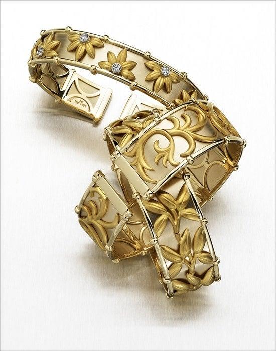 24k Diamond Daisies 18k Yellow Gold Flex Cuff By Mark