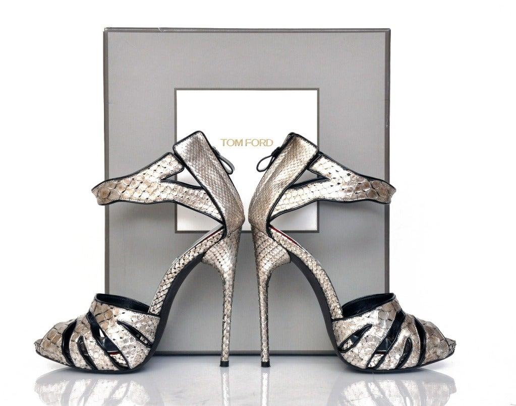 New Tom Ford Silver Python Platform Shoes 2