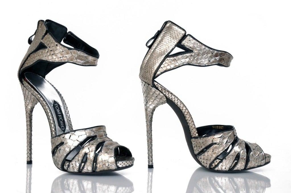 New Tom Ford Silver Python Platform Shoes 3