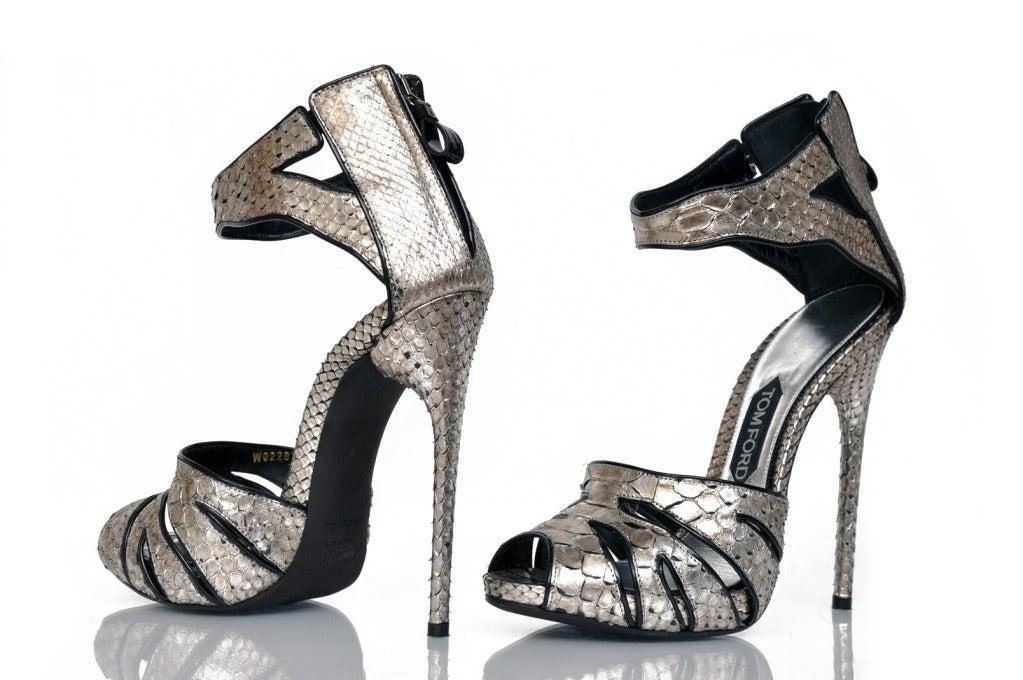 New Tom Ford Silver Python Platform Shoes 4