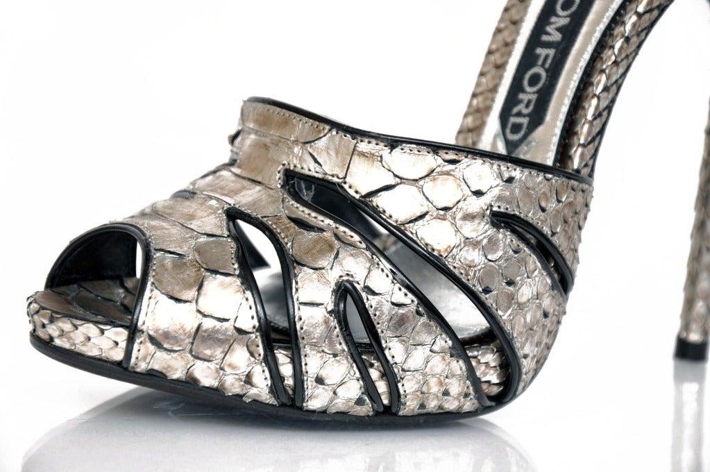 New Tom Ford Silver Python Platform Shoes 6