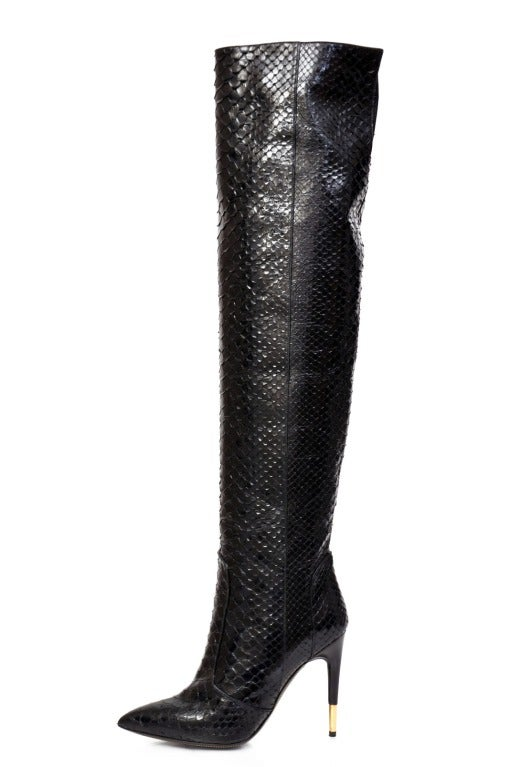 Women's Tom Ford Black Anaconda Over the Knee Boots For Sale