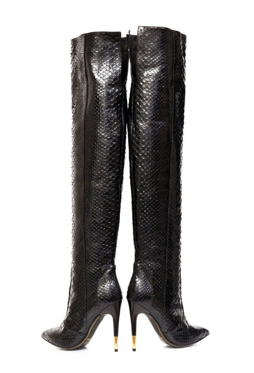 Tom Ford Black Anaconda Over the Knee Boots For Sale 1