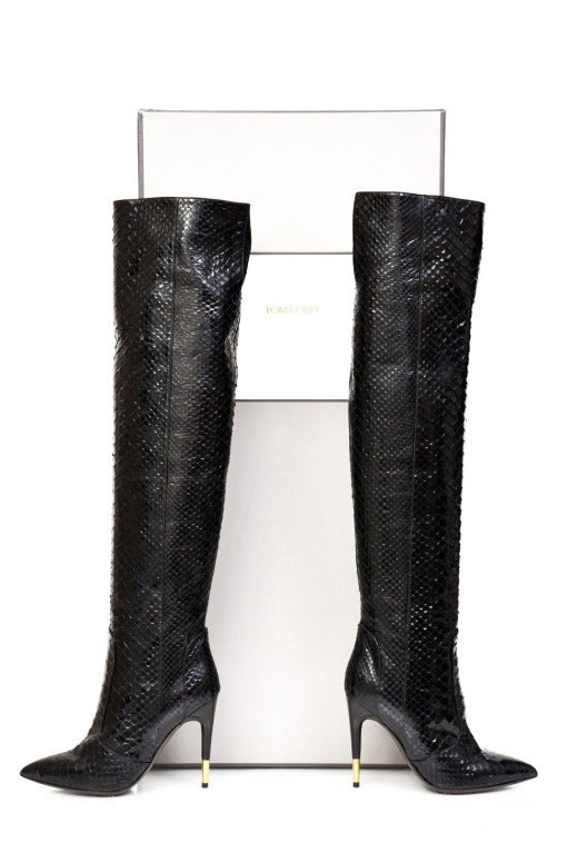 Tom Ford Black Anaconda Over the Knee Boots For Sale 2