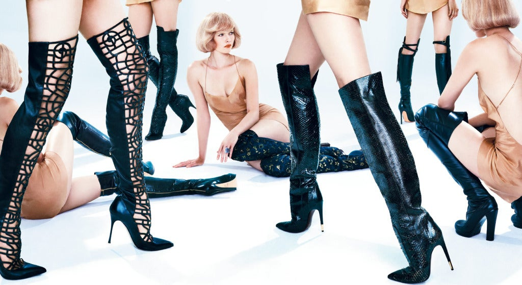 Tom Ford Black Anaconda Over the Knee Boots In New Condition For Sale In Montgomery, TX