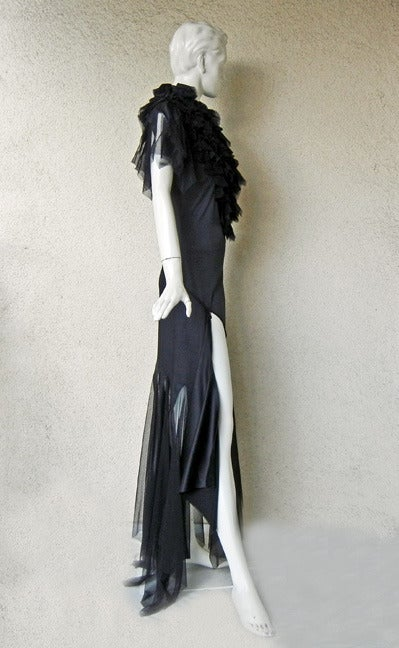 """Alexander Queen 2001 """"What a Merry Go Round"""" Spiral Zipper Ruffle Evening Dress In New never worn Condition For Sale In Los Angeles, CA"""