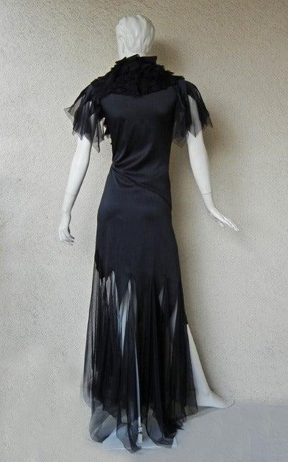 """Women's Alexander Queen 2001 """"What a Merry Go Round"""" Spiral Zipper Ruffle Evening Dress For Sale"""