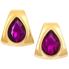 Large Goldtone Faux Amethyst Earrings, Costume Jewelry