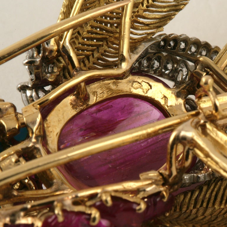 Jean Charles Mid 20th Century Multi-Gem Gold Platinum Bird Brooch 4