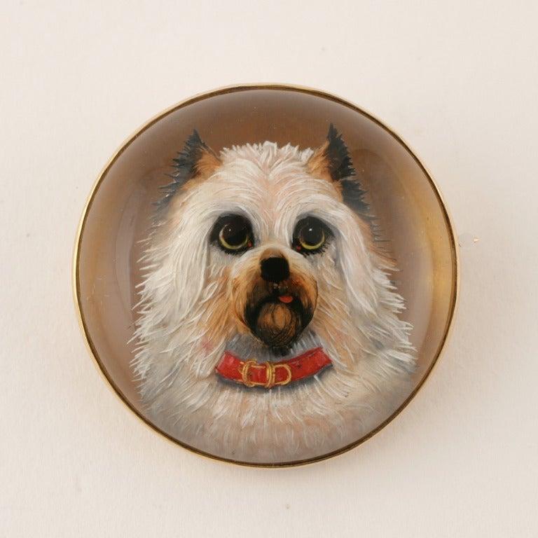 Antique English Essex Crystal Gold Dog Brooch 2